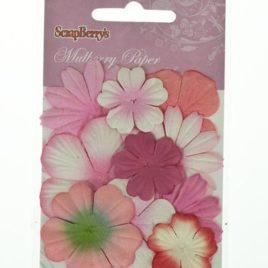 Набор цветочков из шелковичной бумаги, Оттенки розового