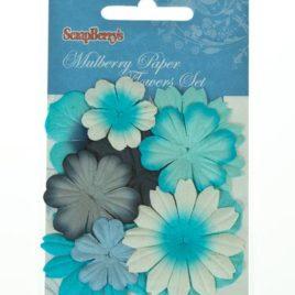 Набор цветочков из шелковичной бумаги, Светло голубой