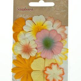 Набор цветочков из шелковичной бумаги, светло желтый и кремовый