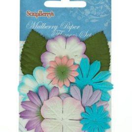 Набор цветочков с листочками, Нежные