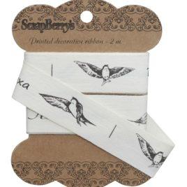 Лента отрезная «Птицы с надписями»