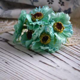 Букет цветов из ткани, Мятные