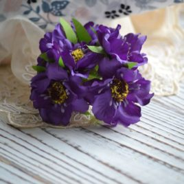 Букет цветов из ткани, Фиолетовые