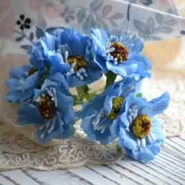 Букет цветов из ткани, Голубые