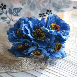 Букет цветов из ткани, Синие