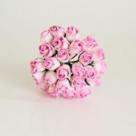 Mini бутоны Розово-белые полураскрытые