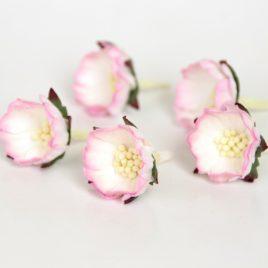Бумажные цветы шиповник Розово-белые