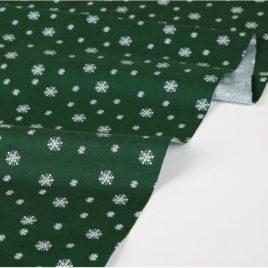 Ткань Dailylike «Снежинки на зеленом»