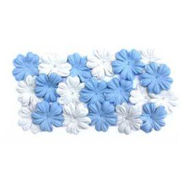Набор цветков из шелковичной бумаги небесный, белый
