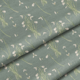 Ткань «Подснежники на зеленом»